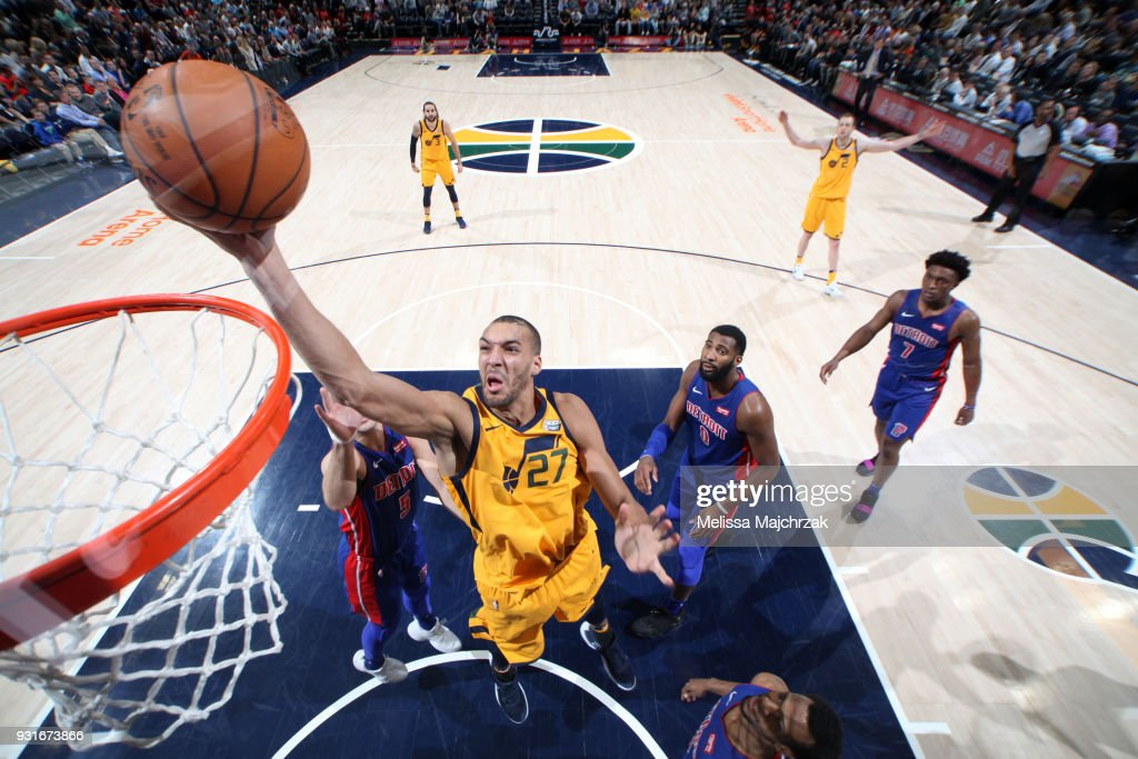 Rudy Gobert #27 of the Utah Jazz goes to the basket against the Detroit Pistons on March 13, 2018 at vivint.SmartHome Arena in Salt Lake City, Utah.