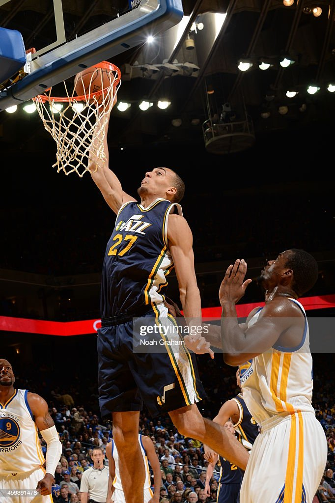 Rudy Gobert #27 of the Utah Jazz goes to the basket against the Golden State Warriors on November 21, 2014 at ORACLE Arena in Oakland, California.