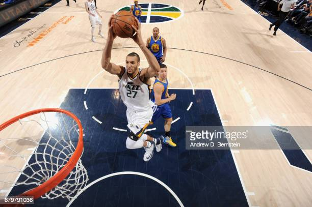 Rudy Gobert of the Utah Jazz goes to the basket against the Golden State Warriors during Game Three of the Western Conference Semifinals of the 2017...