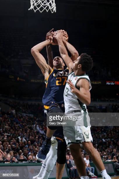 Rudy Gobert of the Utah Jazz goes to the basket against the Milwaukee Bucks on December 9 2017 at the BMO Harris Bradley Center in Milwaukee...