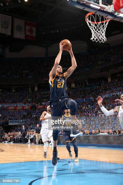 Rudy Gobert of the Utah Jazz goes to the basket against the Oklahoma City Thunder during Game One of Round One of the 2018 NBA Playoffs on April 15...