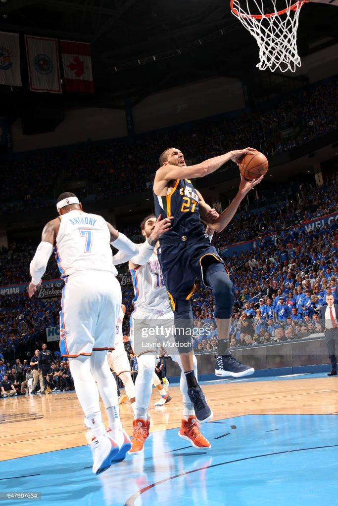 Rudy Gobert #27 of the Utah Jazz goes to the basket against the Oklahoma City Thunder during Game One of Round One of the 2018 NBA Playoffs on April 15, 2018 at Chesapeake Energy Arena in Oklahoma City, Oklahoma.