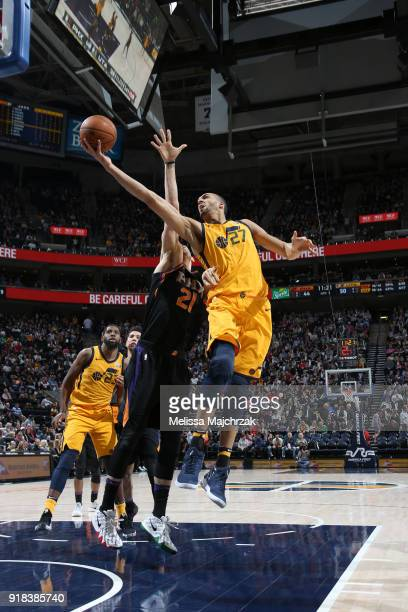 Rudy Gobert of the Utah Jazz goes to the basket against the Phoenix Suns on February 14 2018 at Vivint Smart Home Arena in Salt Lake City Utah NOTE...