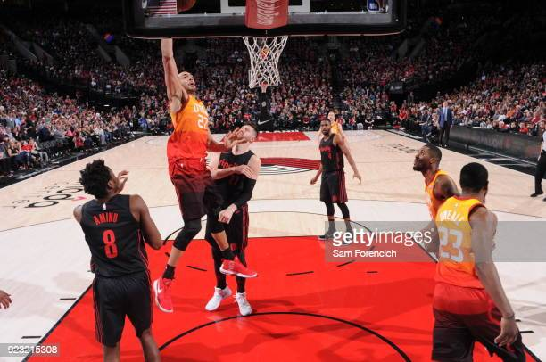 Rudy Gobert of the Utah Jazz goes to the basket against the Portland Trail Blazers on February 11 2018 at the Moda Center in Portland Oregon NOTE TO...