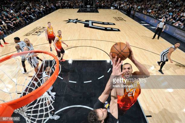 Rudy Gobert of the Utah Jazz goes to the basket against the San Antonio Spurs on March 23 2018 at the ATT Center in San Antonio Texas NOTE TO USER...