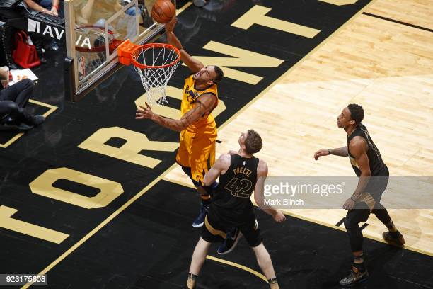 Rudy Gobert of the Utah Jazz goes to the basket against the Toronto Raptors on January 26 2018 at the Air Canada Centre in Toronto Ontario Canada...