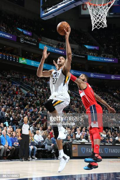 Rudy Gobert of the Utah Jazz goes to the basket against the Washington Wizards on December 4 2017 at Vivint Smart Home Arena in Salt Lake City Utah...