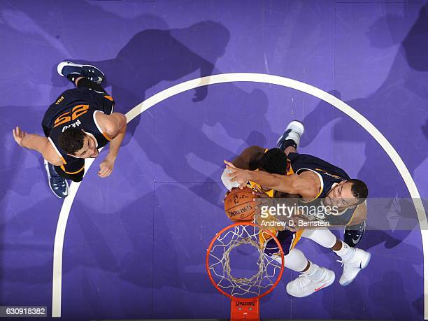 Rudy Gobert of the Utah Jazz goes up for a block against the Los Angeles Lakers on December 27 2016 at STAPLES Center in Los Angeles California NOTE...