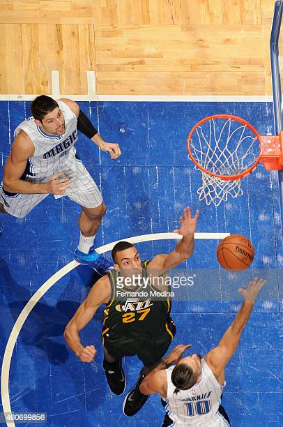 Rudy Gobert of the Utah Jazz goes up for a block against the Orlando Magic on December 19 2014 at Amway Center in Orlando Florida NOTE TO USER User...