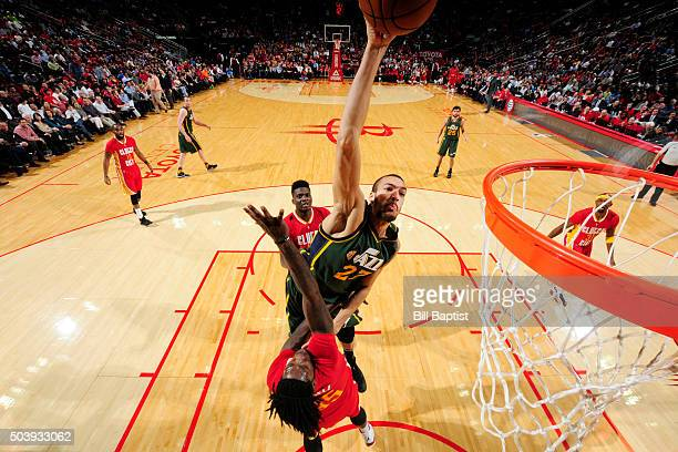 Rudy Gobert of the Utah Jazz goes up for a dunk against the Houston Rockets on January 7 2016 at the Toyota Center in Houston Texas NOTE TO USER User...