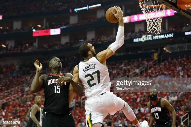 Rudy Gobert of the Utah Jazz goes up for a shot defended by Clint Capela of the Houston Rockets in the first half during Game Two of the Western...