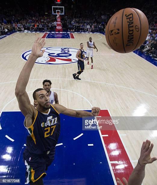 Rudy Gobert of the Utah Jazz goes up to block the ball against the Philadelphia 76ers at Wells Fargo Center on November 7 2016 in Philadelphia...