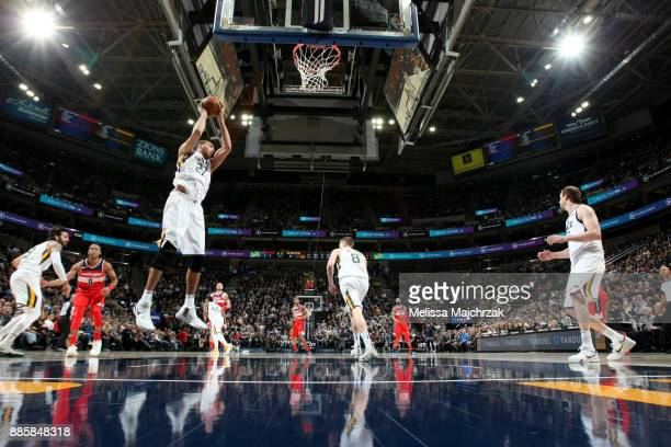 Rudy Gobert of the Utah Jazz grabs a rebound against the Washington Wizards on December 4 2017 at Vivint Smart Home Arena in Salt Lake City Utah NOTE...