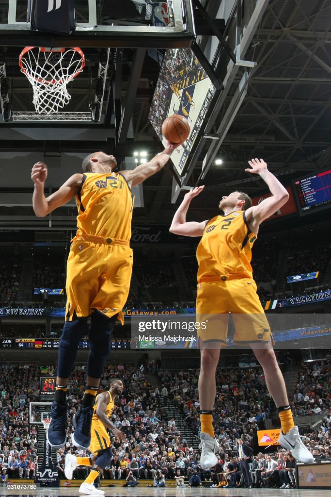 Rudy Gobert #27 of the Utah Jazz grabs the rebound against the Detroit Pistons on March 13, 2018 at vivint.SmartHome Arena in Salt Lake City, Utah.
