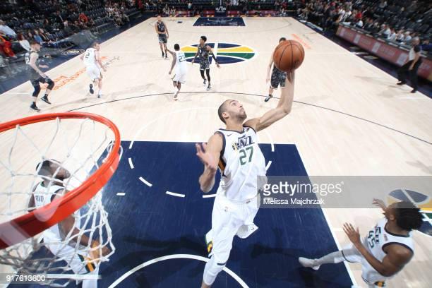 Rudy Gobert of the Utah Jazz grabs the rebound against the San Antonio Spurs on February 12 2018 at vivintSmartHome Arena in Salt Lake City Utah NOTE...