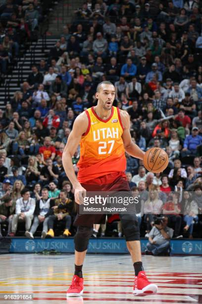 Rudy Gobert of the Utah Jazz handles the ball against the Charlotte Hornets on February 9 2018 at Vivint Smart Home Arena in Salt Lake City Utah NOTE...