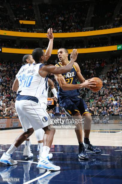 Rudy Gobert of the Utah Jazz handles the ball against the Dallas Mavericks on October 30 2017 at Vivint Smart Home Arena in Salt Lake City Utah NOTE...