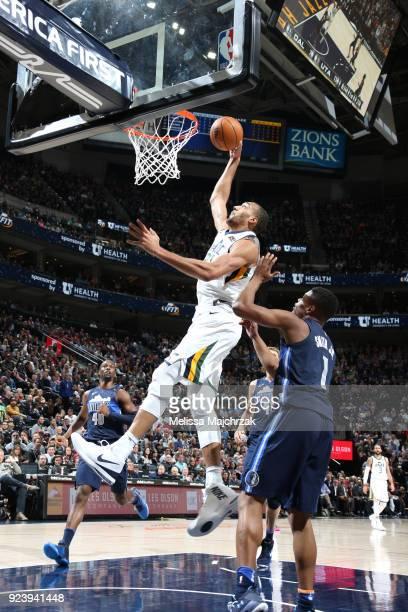 Rudy Gobert of the Utah Jazz handles the ball against the Dallas Mavericks on February 24 2018 at Vivint Smart Home Arena in Salt Lake City Utah NOTE...