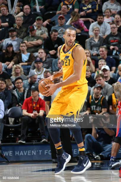 Rudy Gobert of the Utah Jazz handles the ball against the Detroit Pistons on March 13 2018 at vivintSmartHome Arena in Salt Lake City Utah NOTE TO...