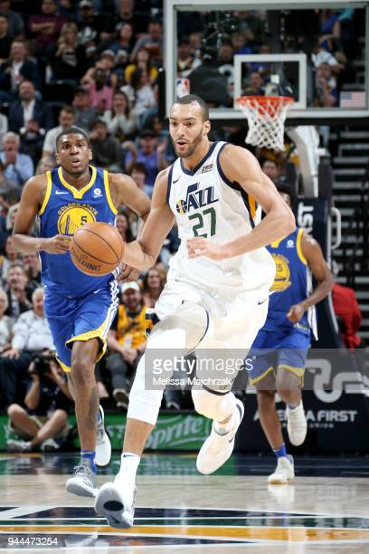 Rudy Gobert of the Utah Jazz handles the ball against the Golden State Warriors on April 10 2018 at vivintSmartHome Arena in Salt Lake City Utah NOTE...