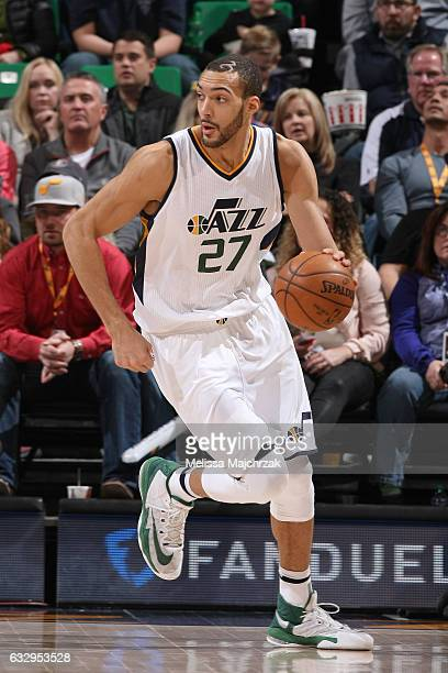 Rudy Gobert of the Utah Jazz handles the ball against the Memphis Grizzlies on January 28 2017 at vivintSmartHome Arena in Salt Lake City Utah NOTE...