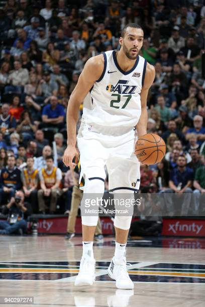 Rudy Gobert of the Utah Jazz handles the ball against the Memphis Grizzlies on March 30 2018 at vivintSmartHome Arena in Salt Lake City Utah NOTE TO...