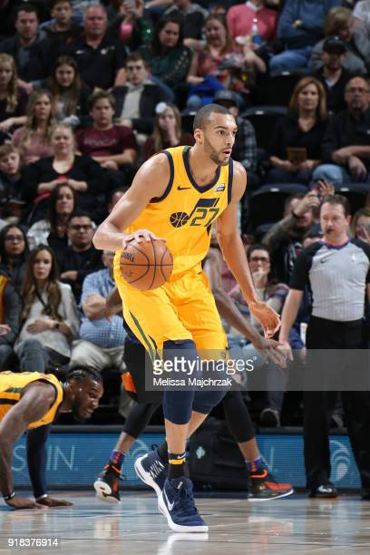 Rudy Gobert of the Utah Jazz handles the ball against the Phoenix Suns on February 14 2018 at Vivint Smart Home Arena in Salt Lake City Utah NOTE TO...