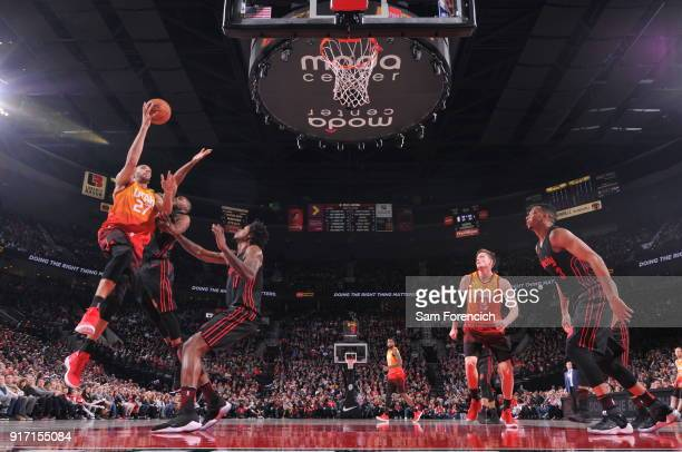 Rudy Gobert of the Utah Jazz handles the ball against the Portland Trail Blazers on February 11 2018 at the Moda Center in Portland Oregon NOTE TO...
