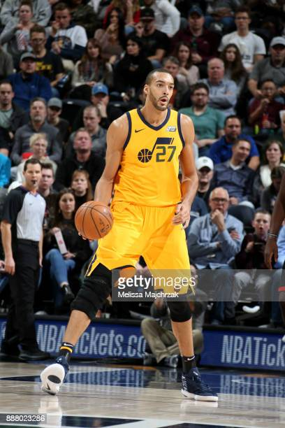 Rudy Gobert of the Utah Jazz handles the ball during the game against the Houston Rockets on December 7 2017 at VivintSmartHome Arena in Salt Lake...