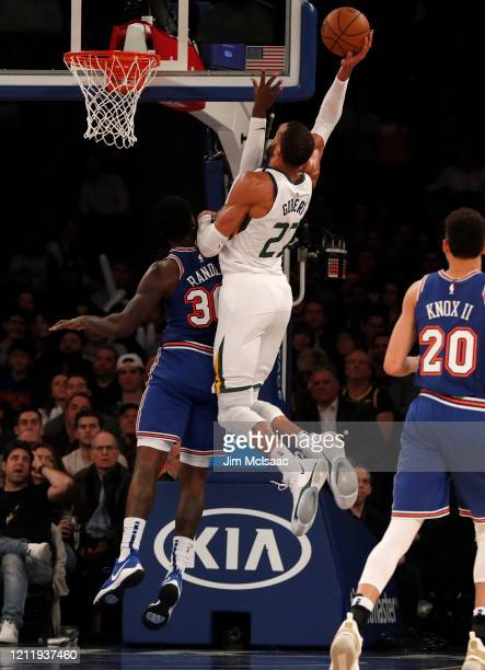 Rudy Gobert of the Utah Jazz in action against Julius Randle of the New York Knicks at Madison Square Garden on March 04 2020 in New York City The...