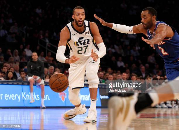 Rudy Gobert of the Utah Jazz in action against the New York Knicks at Madison Square Garden on March 04 2020 in New York City The Jazz defeated the...