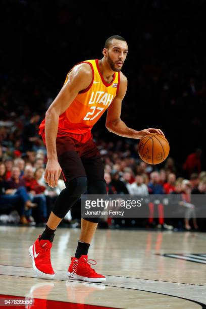 Rudy Gobert of the Utah Jazz in action against the Portland Trail Blazers at Moda Center on April 11 2018 in Portland OregonNOTE TO USER User...