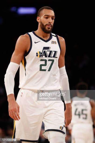 Rudy Gobert of the Utah Jazz in between plays during a game against the New York Knicks at Madison Square Garden on March 04 2020 in New York City