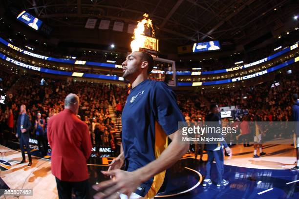 Rudy Gobert of the Utah Jazz is introduced before the game against the Washington Wizards on December 4 2017 at Vivint Smart Home Arena in Salt Lake...