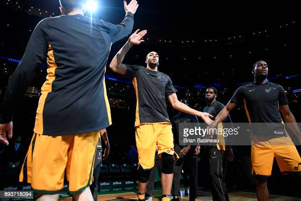 Rudy Gobert of the Utah Jazz is introduced before the game against the Boston Celtics on December 15 2017 at the TD Garden in Boston Massachusetts...