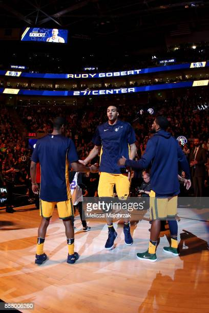 Rudy Gobert of the Utah Jazz is introduced prior to the game against the Houston Rockets on December 7 2017 at VivintSmartHome Arena in Salt Lake...
