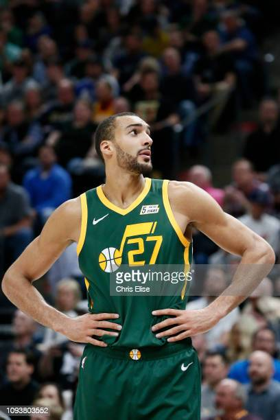 Rudy Gobert of the Utah Jazz looks on against the Houston Rockets on February 2 2019 at Vivint Smart Home Arena in Salt Lake City Utah NOTE TO USER...