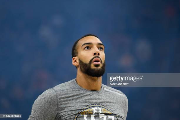 Rudy Gobert of the Utah Jazz looks on before a game against the Toronto Raptors at Vivint Smart Home Arena on March 9 2020 in Salt Lake City Utah...
