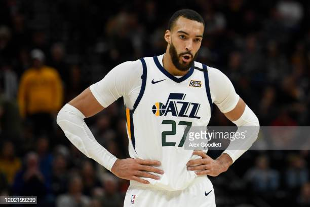 Rudy Gobert of the Utah Jazz looks on during a game against the Dallas Mavericks at Vivint Smart Home Arena on January 25 2019 in Salt Lake City Utah...