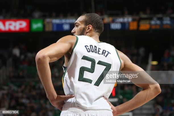 Rudy Gobert of the Utah Jazz looks on during the game against the New Orleans Pelicans on March 27 2017 at vivintSmartHome Arena in Salt Lake City...