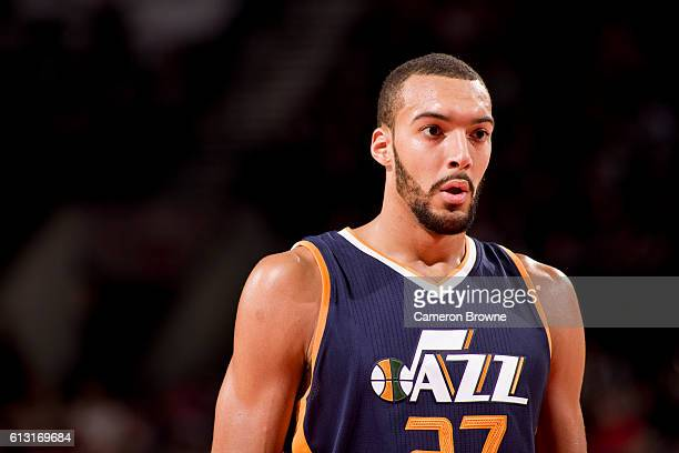 Rudy Gobert of the Utah Jazz looks on during the game against the Portland Trail Blazers on October 3 2016 at the Moda Center Arena in Portland...