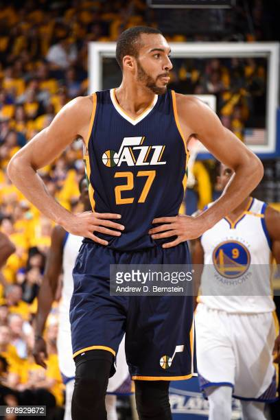 Rudy Gobert of the Utah Jazz looks on during the game against the Golden State Warriors during Game Two of the Western Conference Semifinals of the...