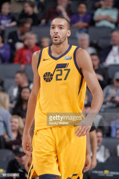 Rudy Gobert of the Utah Jazz looks on during the game against the Sacramento Kings on March 3 2018 at Golden 1 Center in Sacramento California NOTE...