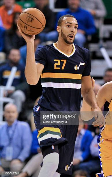 Rudy Gobert of the Utah Jazz looks to pass the ball during their game against the Los Angeles Lakers at Vivint Smart Home Arena on October 28 2016 in...