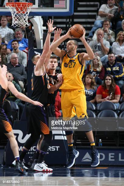 Rudy Gobert of the Utah Jazz passes the ball against the Phoenix Suns on February 14 2018 at Vivint Smart Home Arena in Salt Lake City Utah NOTE TO...