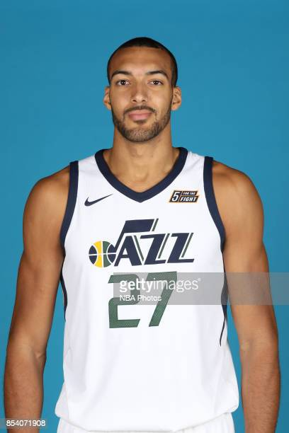 Rudy Gobert of the Utah Jazz poses for a head shot during media day at Zions Bank Basketball Center on September 25 2017 in Salt Lake City Utah NOTE...