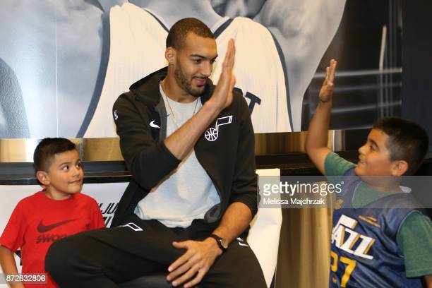 Rudy Gobert of the Utah Jazz poses for photos during the Jr Jazz Tipoff Party at vivintSmartHome Arena on November 08 2017 in Salt Lake City Utah...