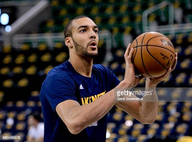 Rudy Gobert of the Utah Jazz practices prior to their game against the Golden State Warriors in Game Four of the Western Conference Semifinals during...