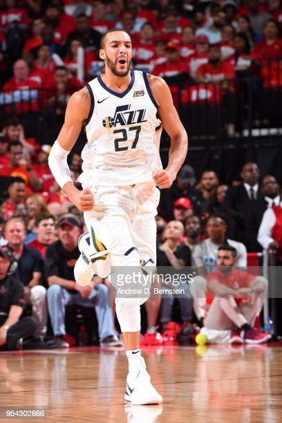Rudy Gobert of the Utah Jazz reacts against the Houston Rockets in Game Two of Round Two of the 2018 NBA Playoffs on May 2 2018 at Toyota Center in...