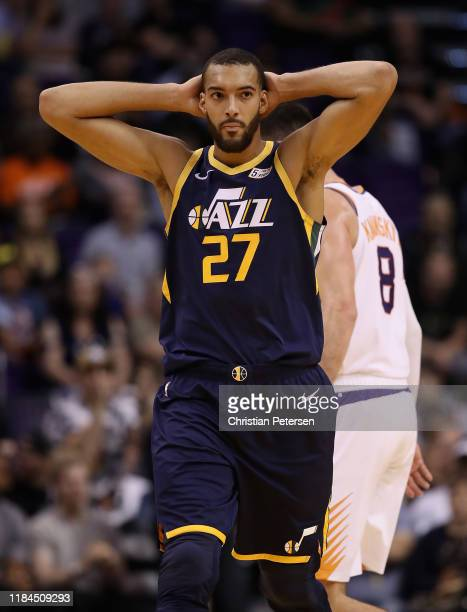 Rudy Gobert of the Utah Jazz reacts during the first half of the NBA game against the Phoenix Suns at Talking Stick Resort Arena on October 28 2019...